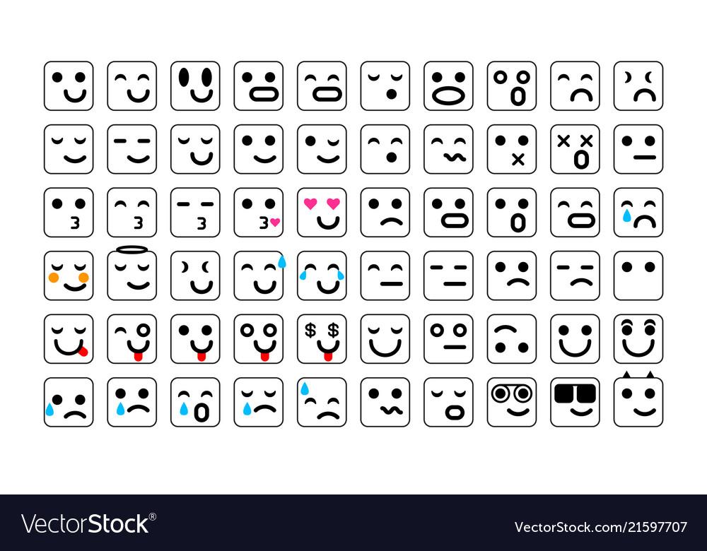 Black set of smile icons emoji emoticons face