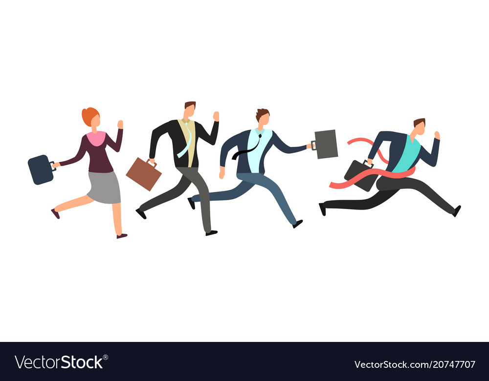 Business people running with leader crossing