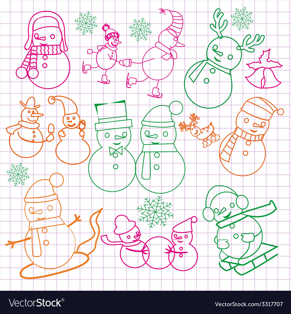 Christmas doodles with snowmen