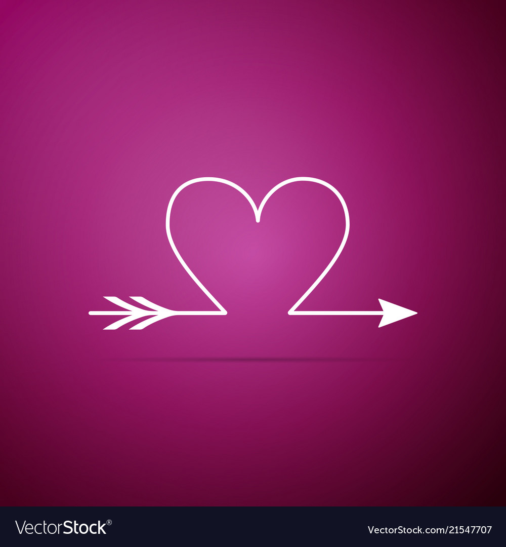 Cupid arrow heart valentines day cards icon