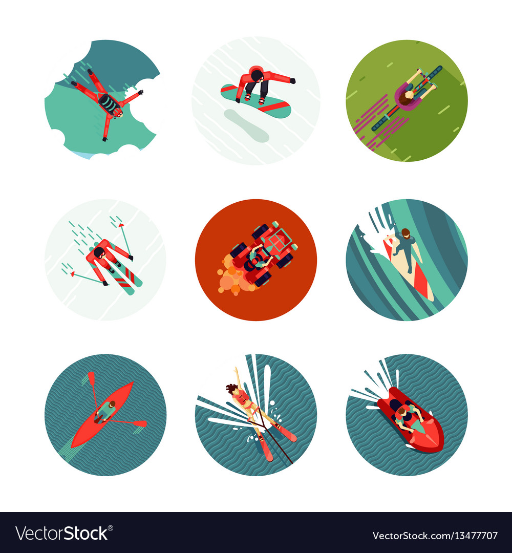 Extreme sport flat icons set top view