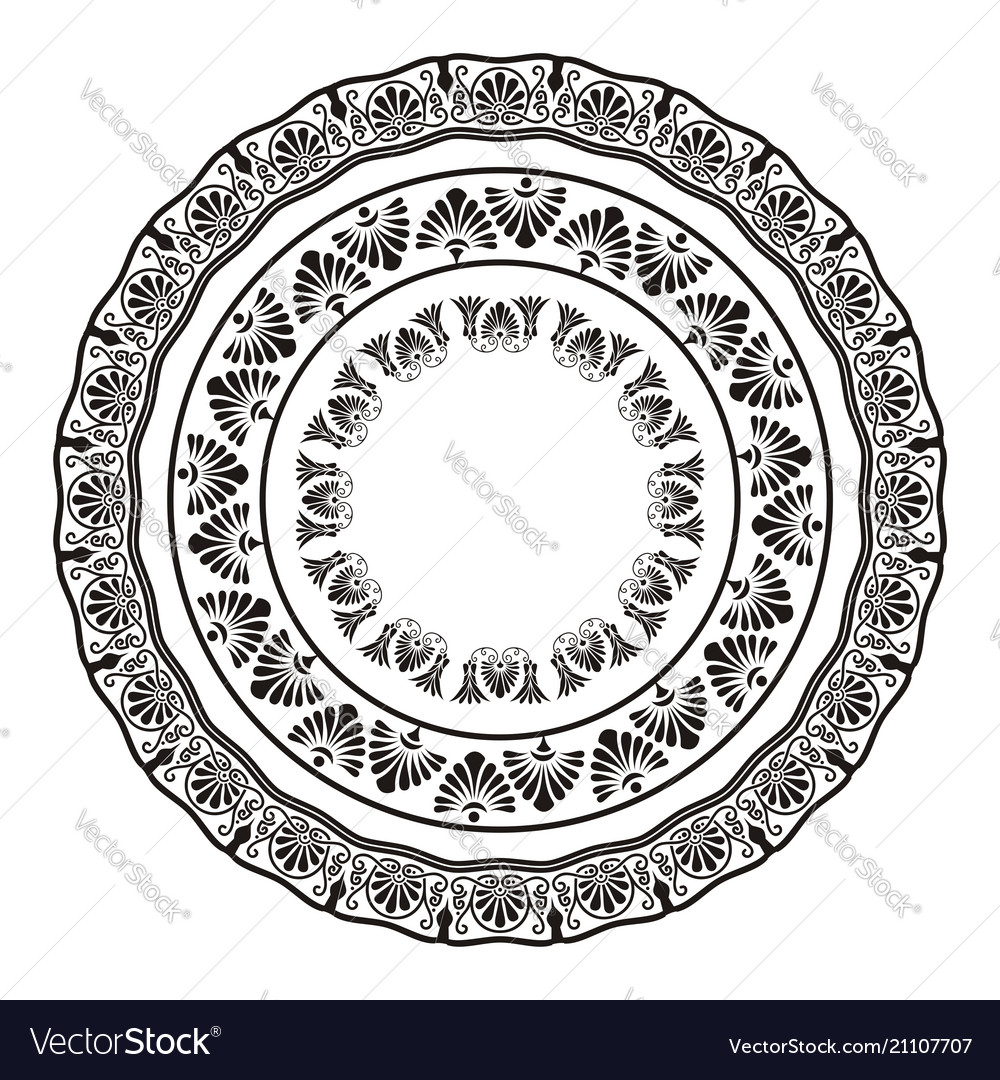 Greek national antique round pattern vector image