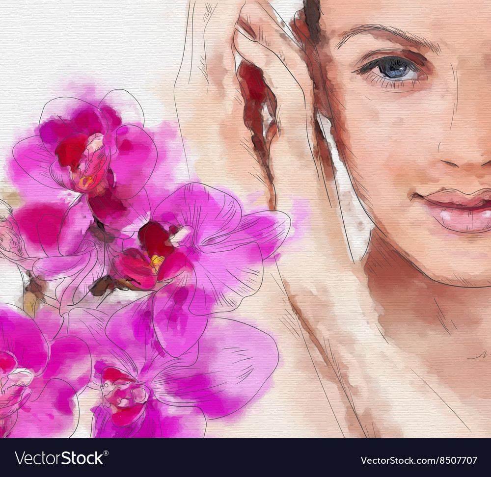 Hand Drawn Painting of a Womans Face and Flowers