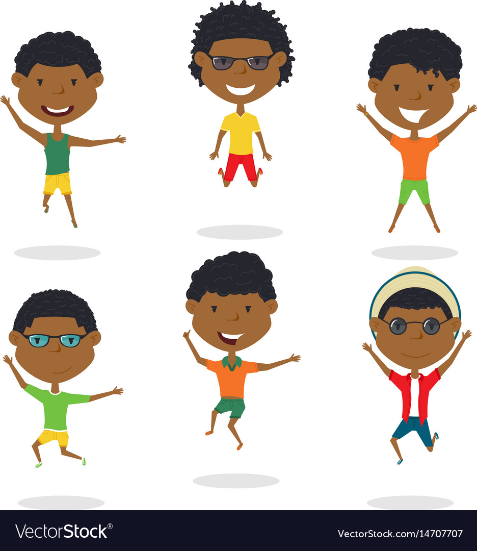 Happy african-american cartoon boys jumping