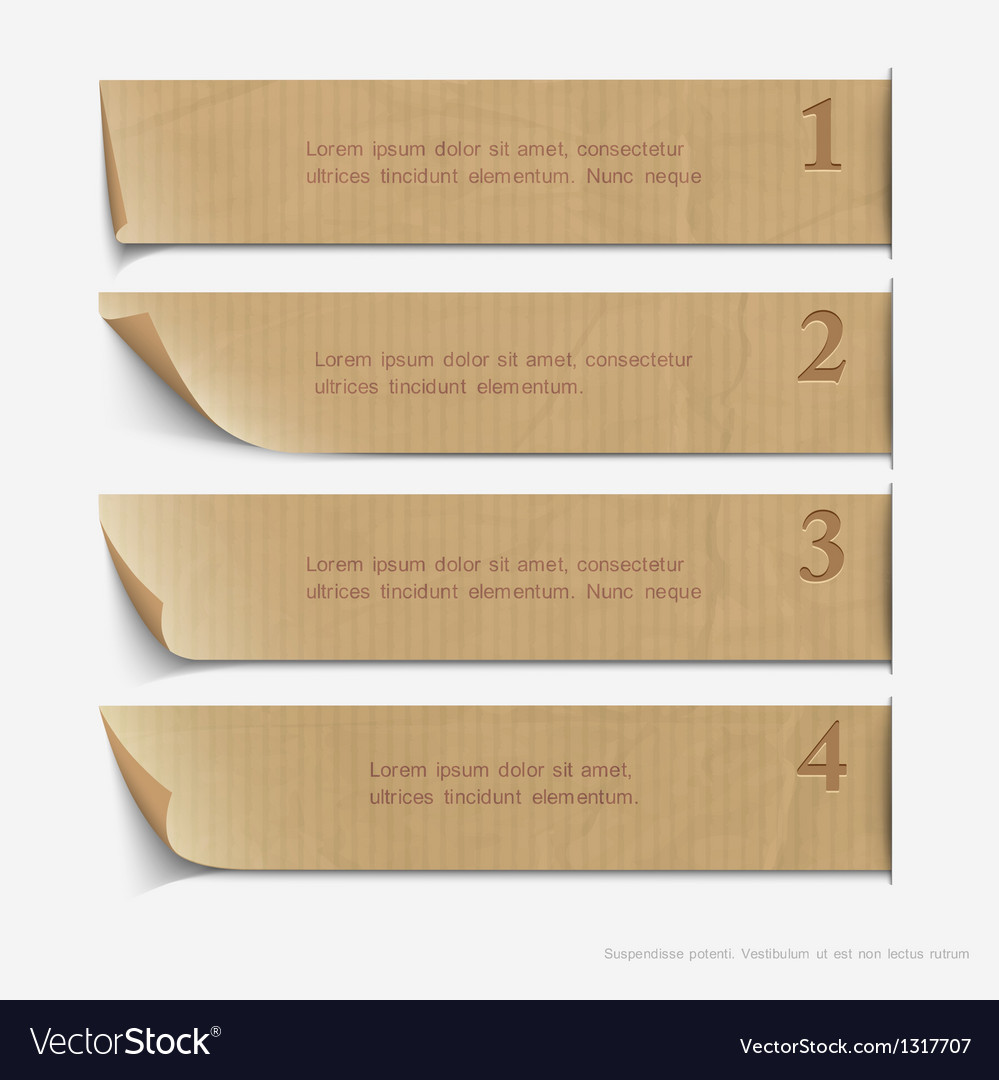Old paper numbered banners vector image