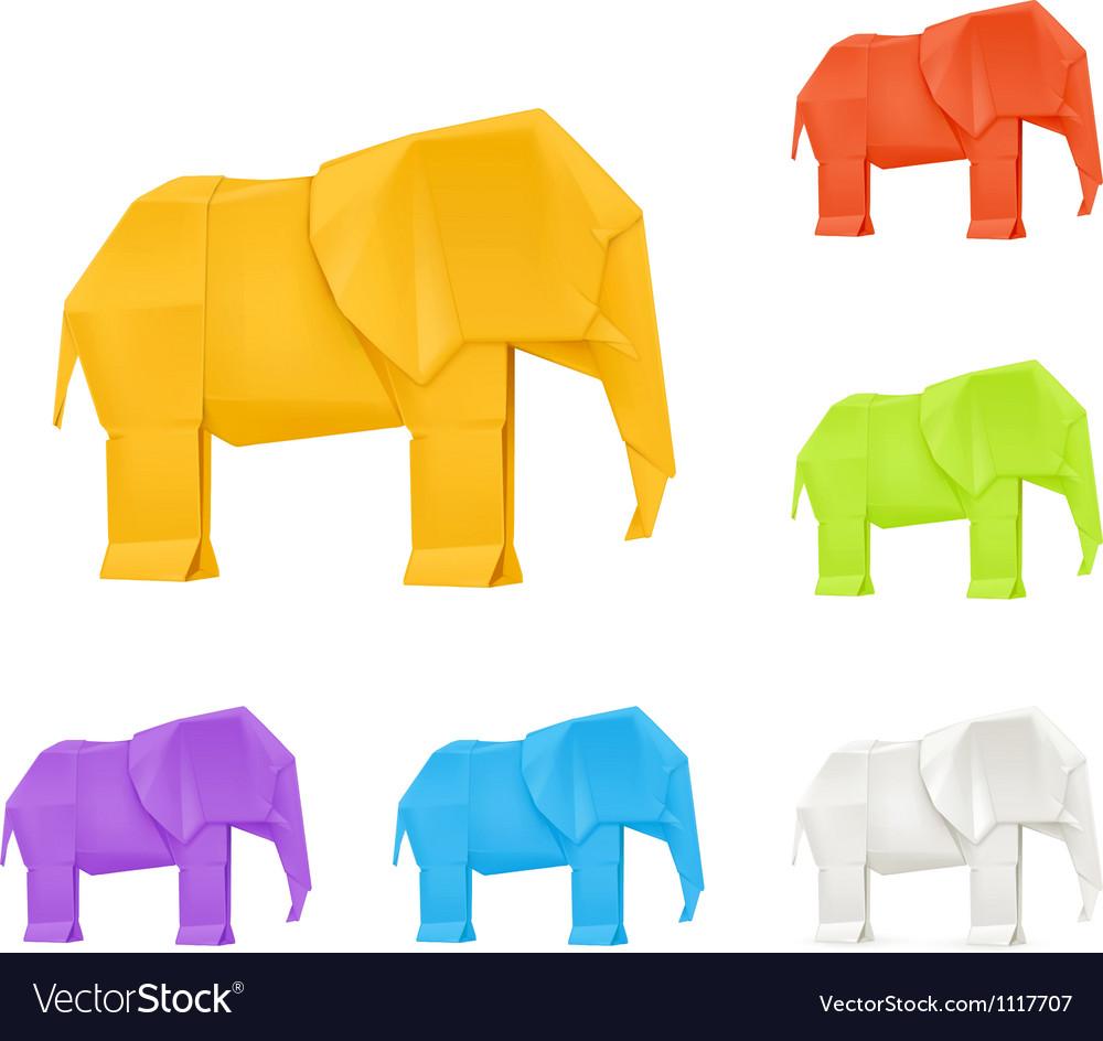Origami elephants set