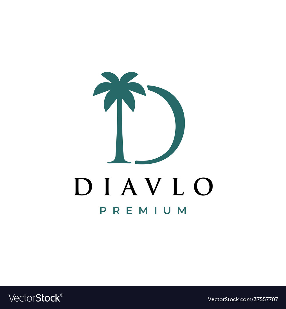 Palm tree d letter mark logo icon