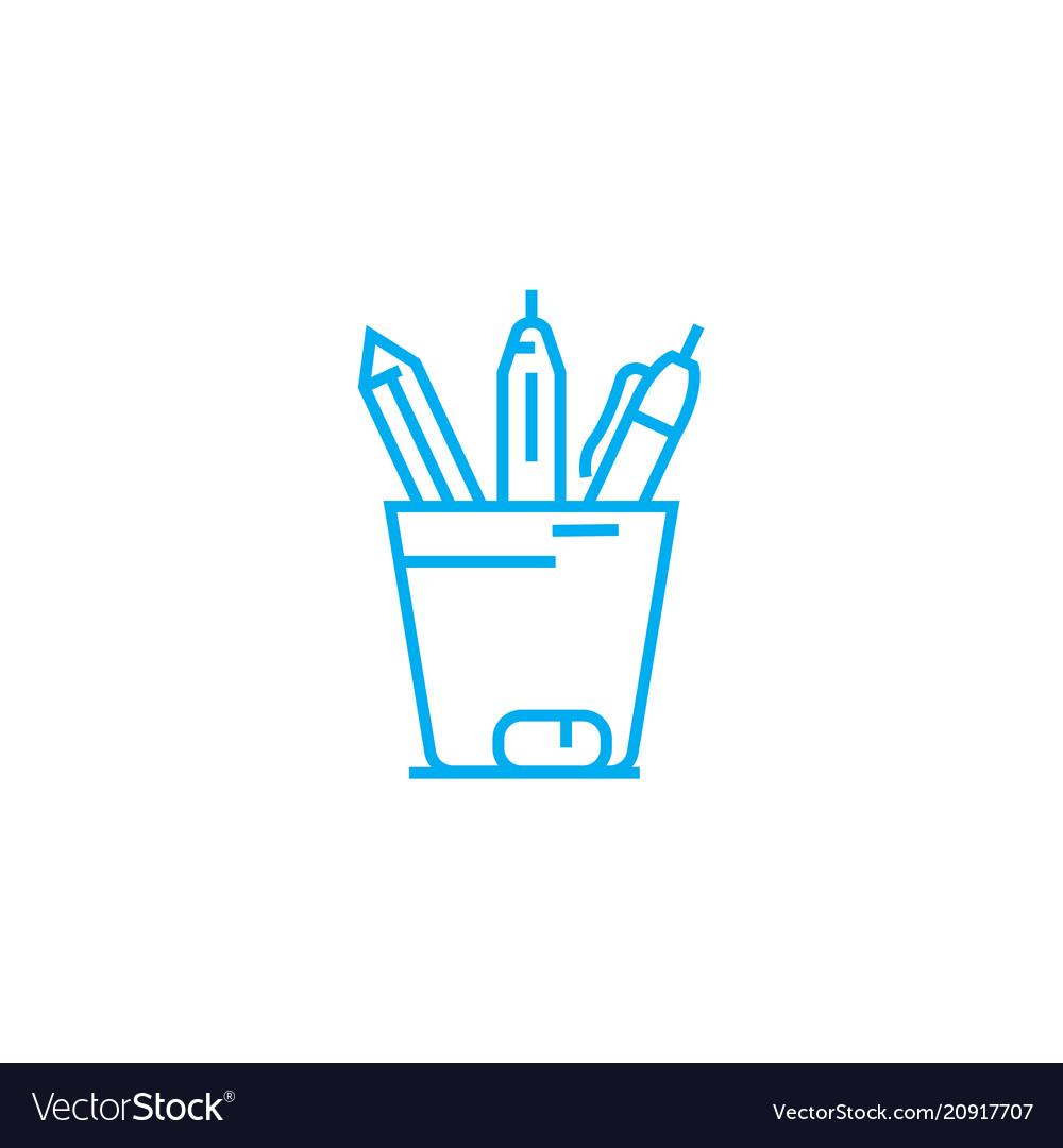 Pencil case linear icon concept pencil case line vector image