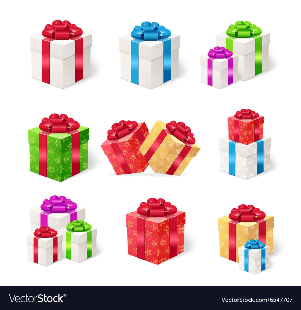 Present Boxes Set vector image