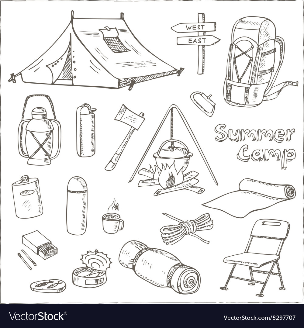 Set of hand drawn camping equipment drawings