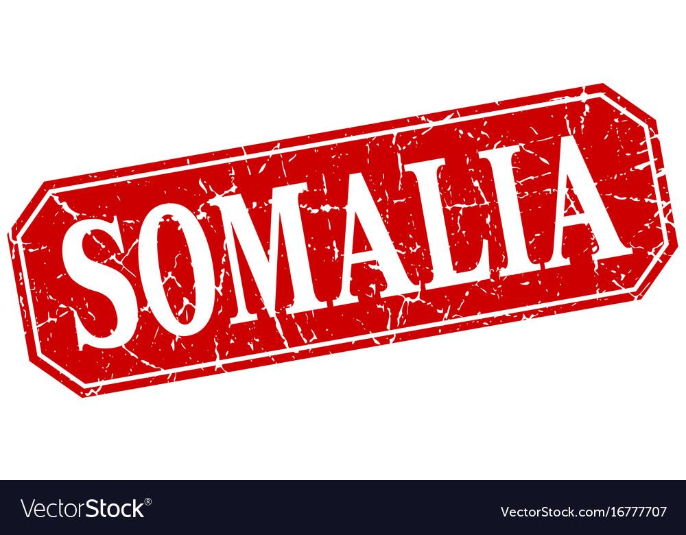 Somalia red square grunge retro style sign vector image