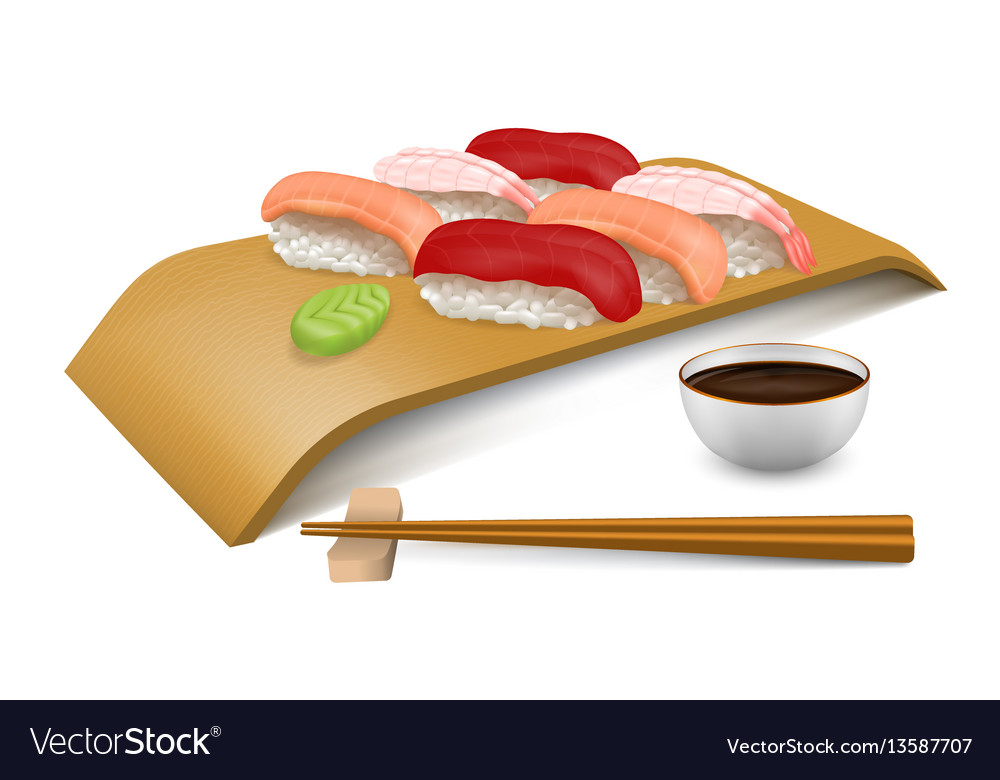 Sushi set on wooden board