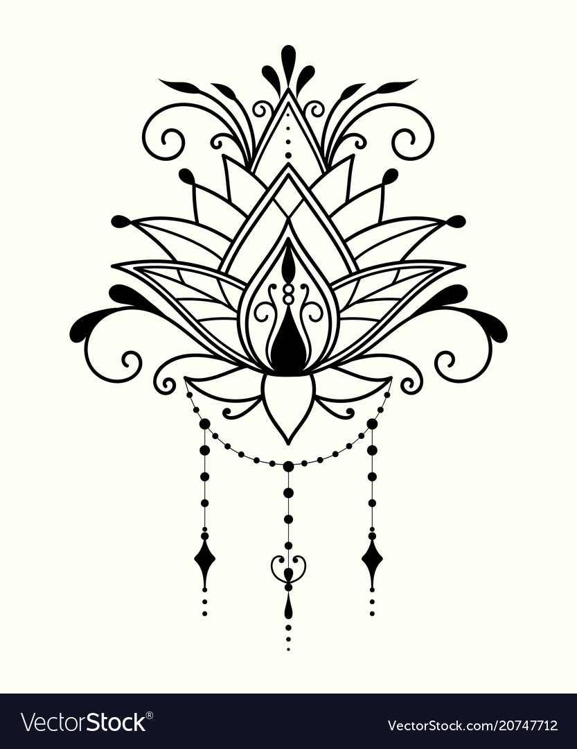 084f915dc0990 Abstract Lotus Flower In Indian Style Vector Image. Abstract Lotus Flower  In Indian Style ·