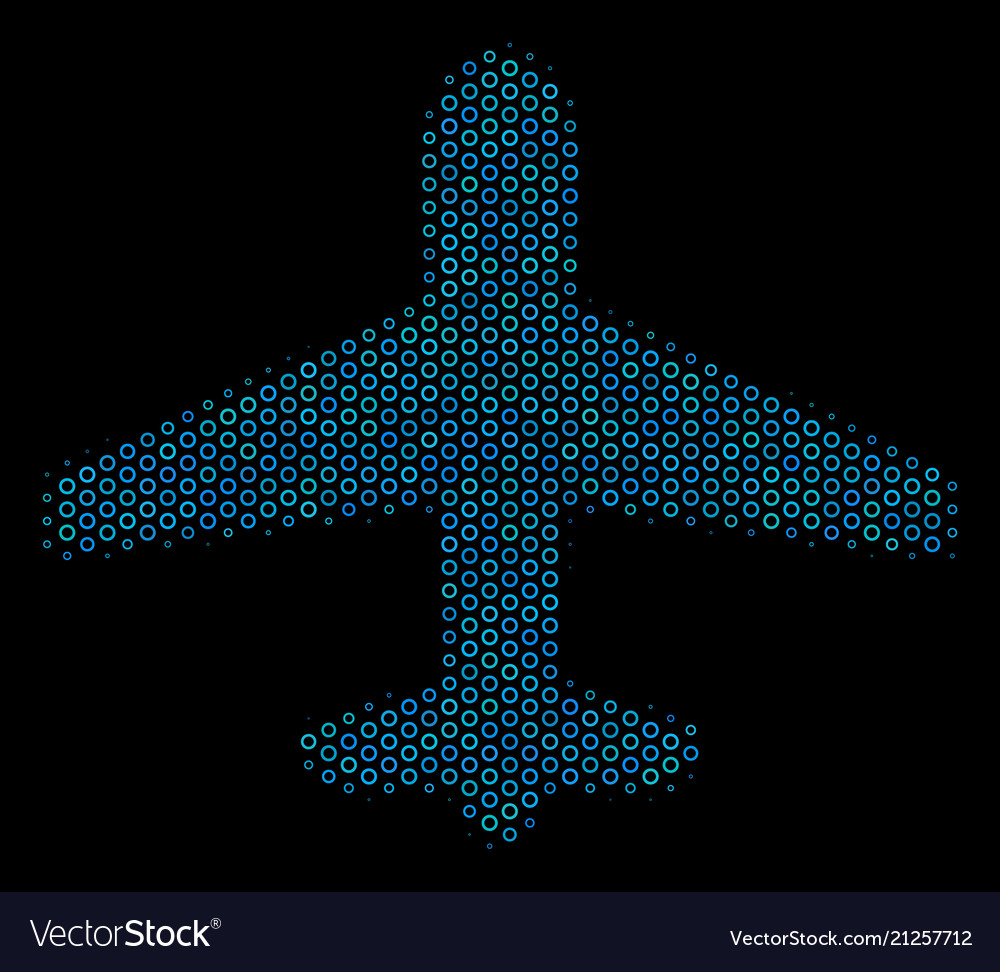Airplane collage icon of halftone circles