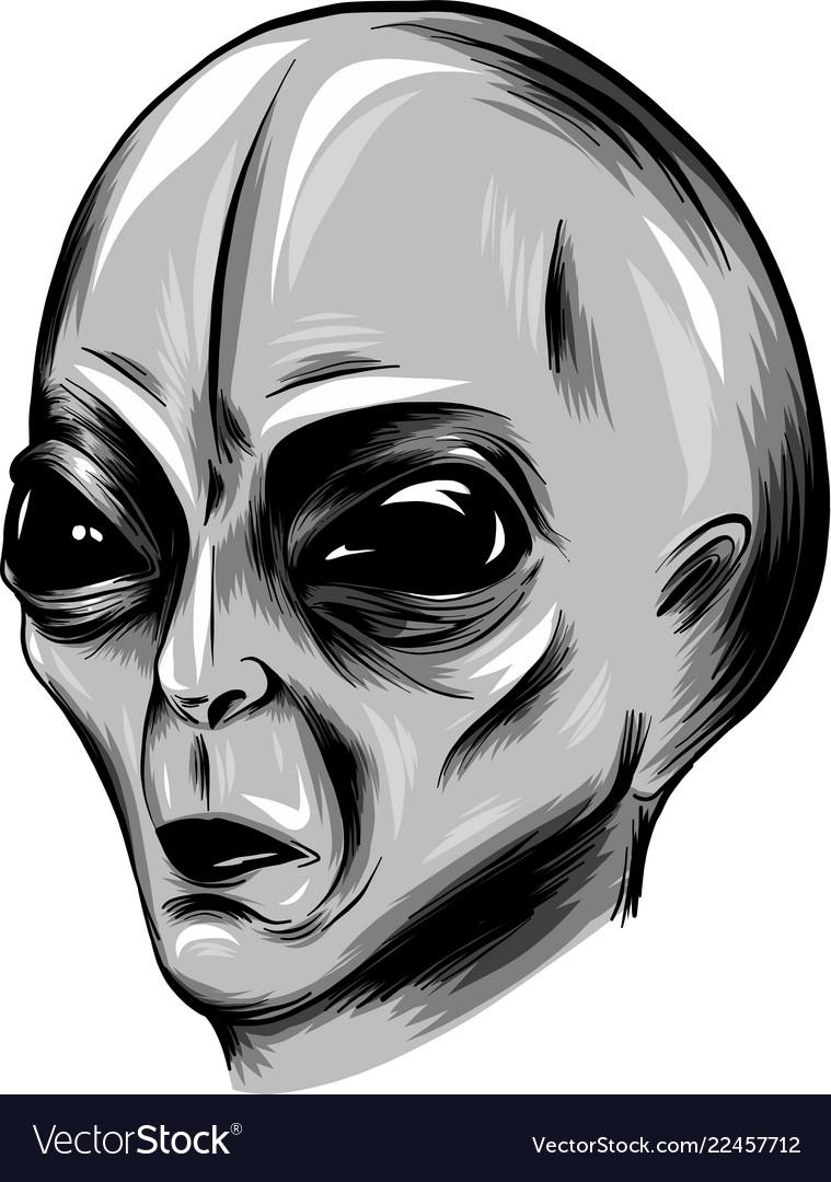 Alien face in white background