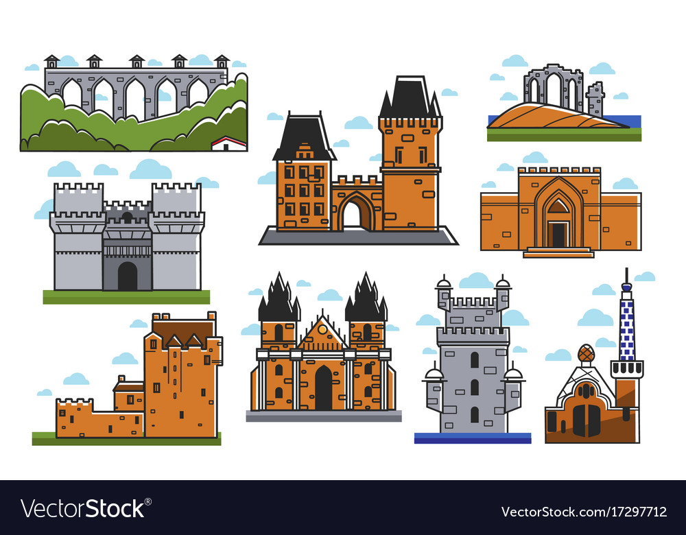 Ancient european castles and towers isolated