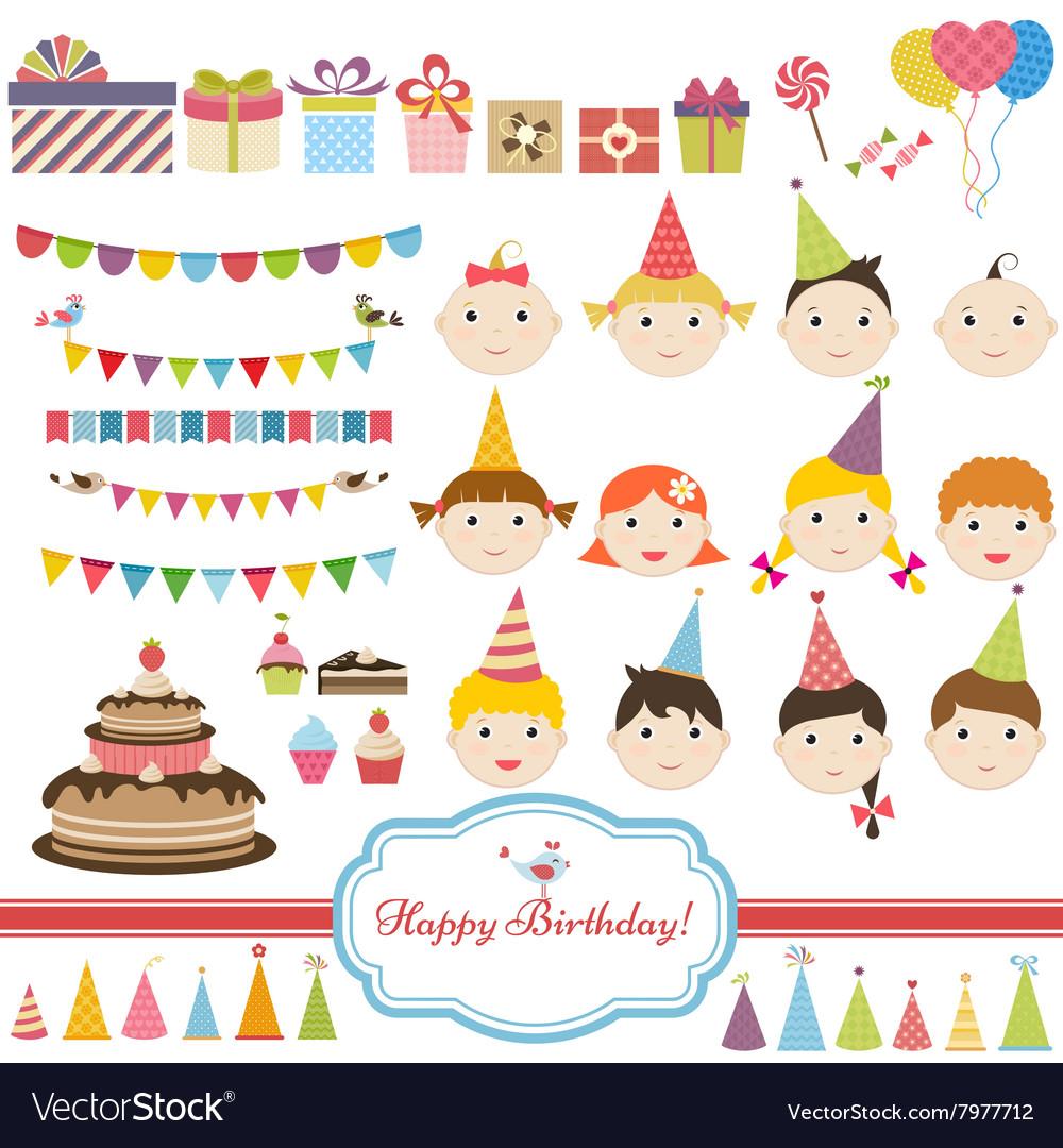 Birthday party set with children