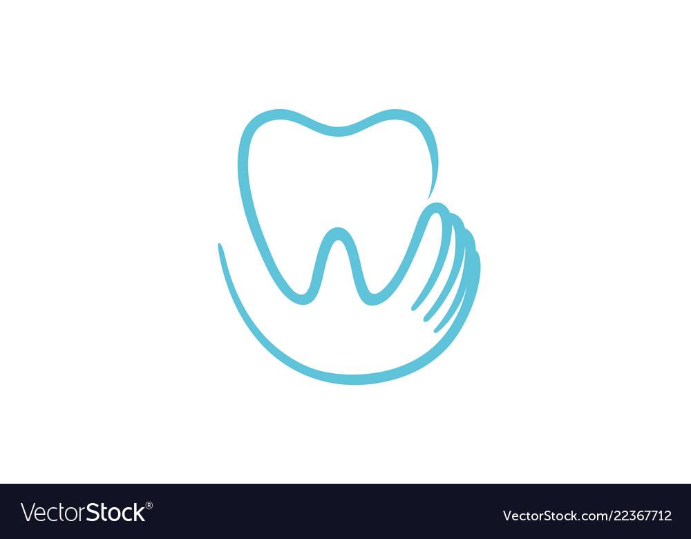 Creative teeth heart inside holding logo