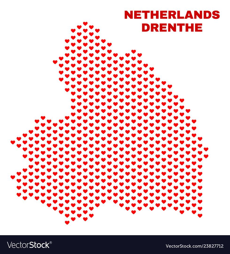 Drenthe province map - mosaic of heart hearts