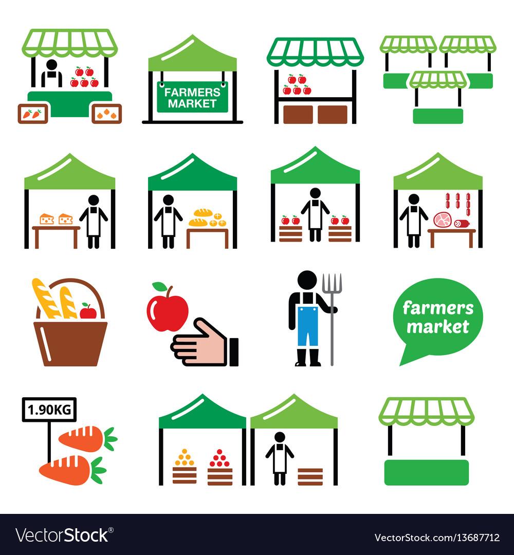Farmers market food market icons set