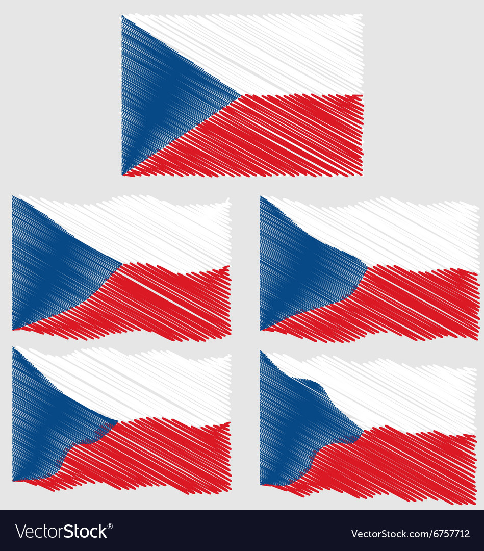 Flat And Waving Hand Draw Sketch Flag Of Czech Vector Image