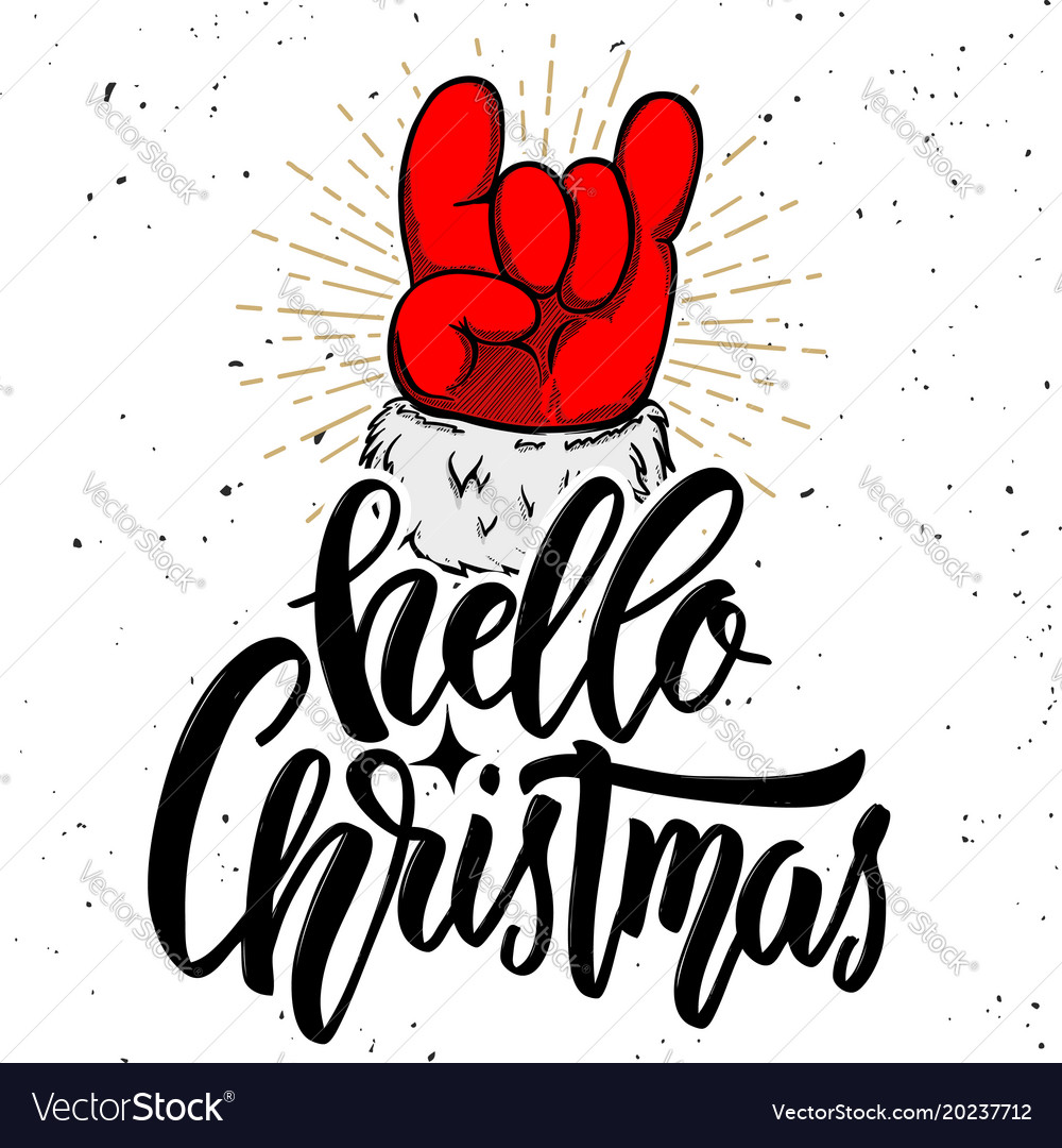 Hello christmas santa claus hand with rock and