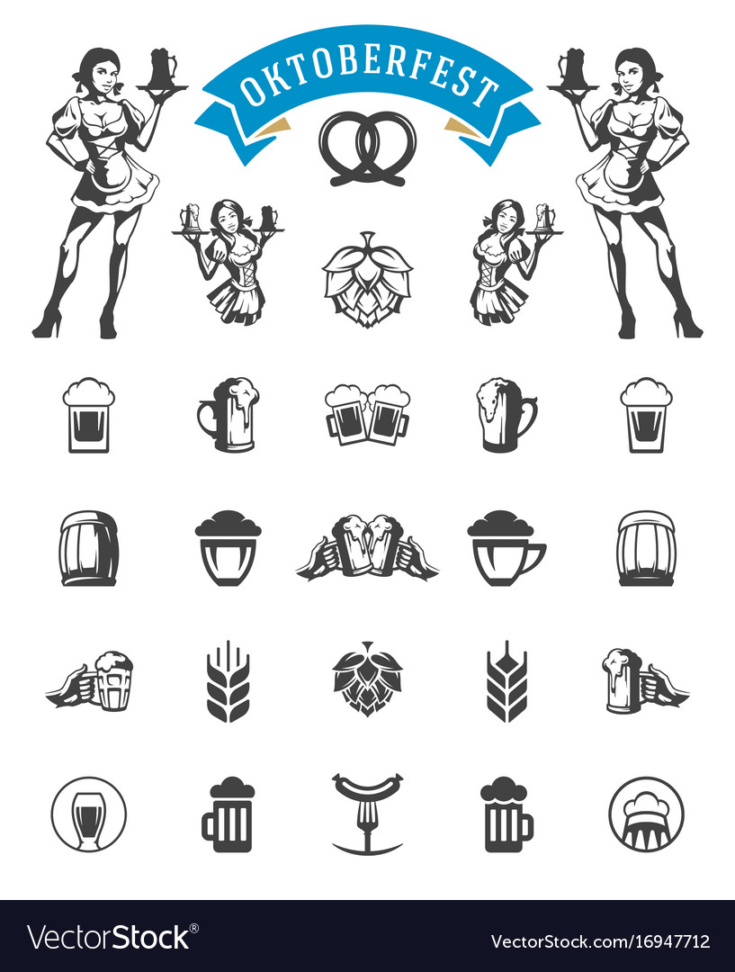 Oktoberfest celebration beer festival icons and