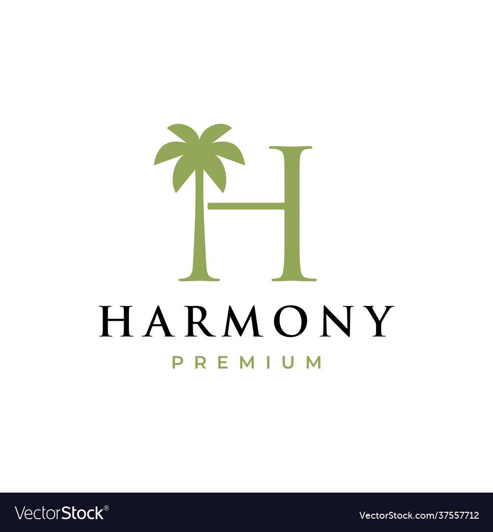 Palm tree h letter mark logo icon