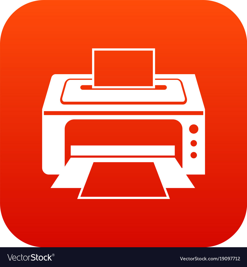 Printer icon digital red Royalty Free Vector Image