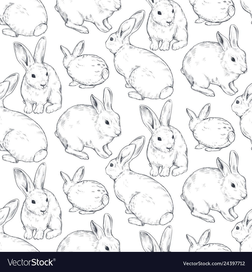 Seamless pattern with hand drawn rabbits