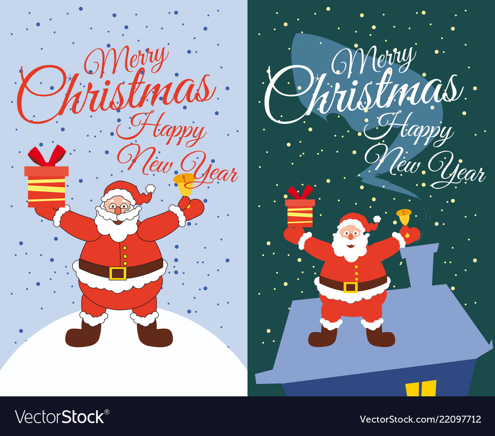 Set cards santa claus standing in the snow gifts