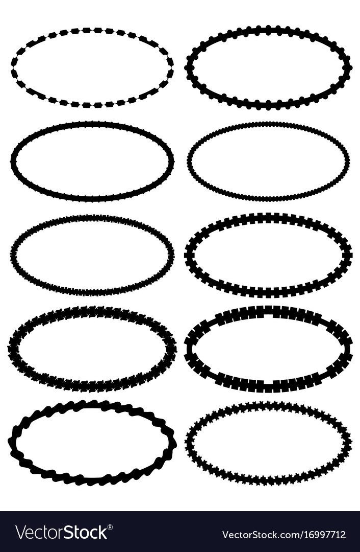 set of oval label borders simply shapes in vector image