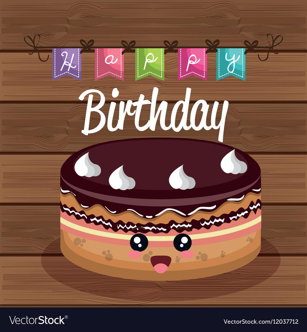 Sweet Birthday Cake Card Royalty Free Vector Image
