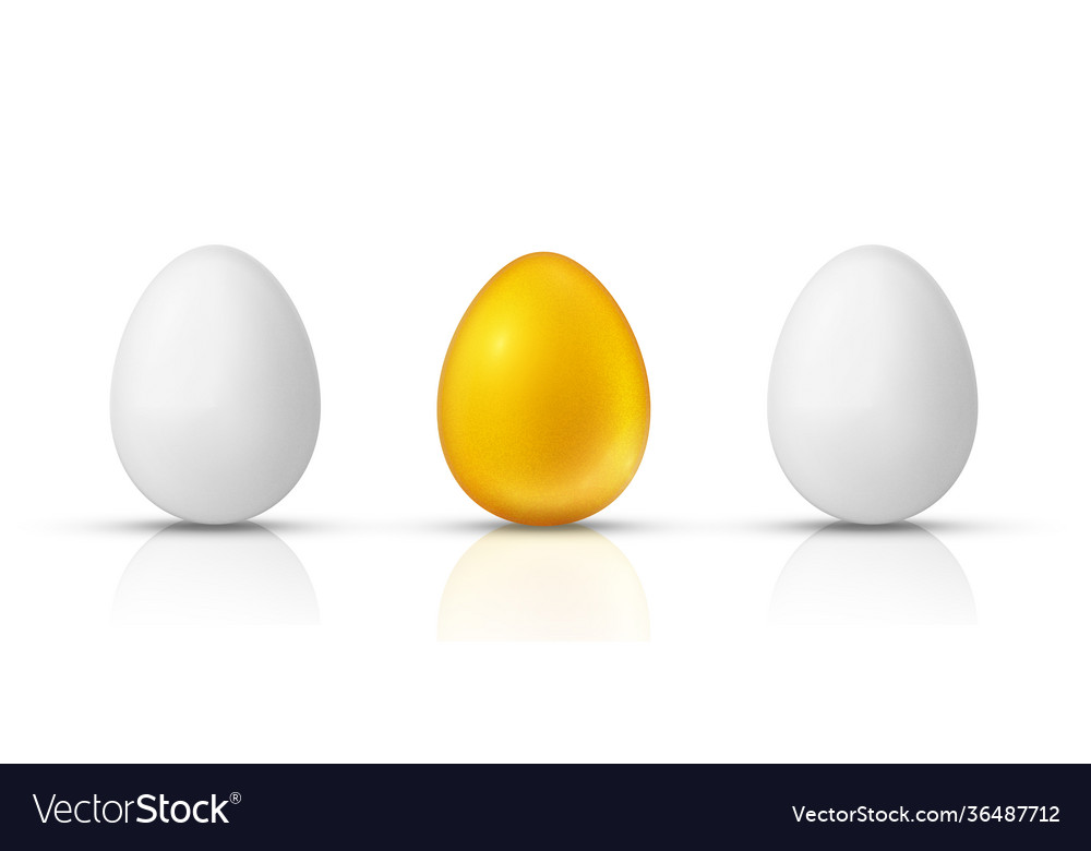 White and golden eggs realistic