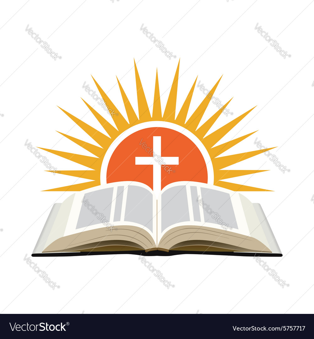 Bible sunset and cross Church logo concept