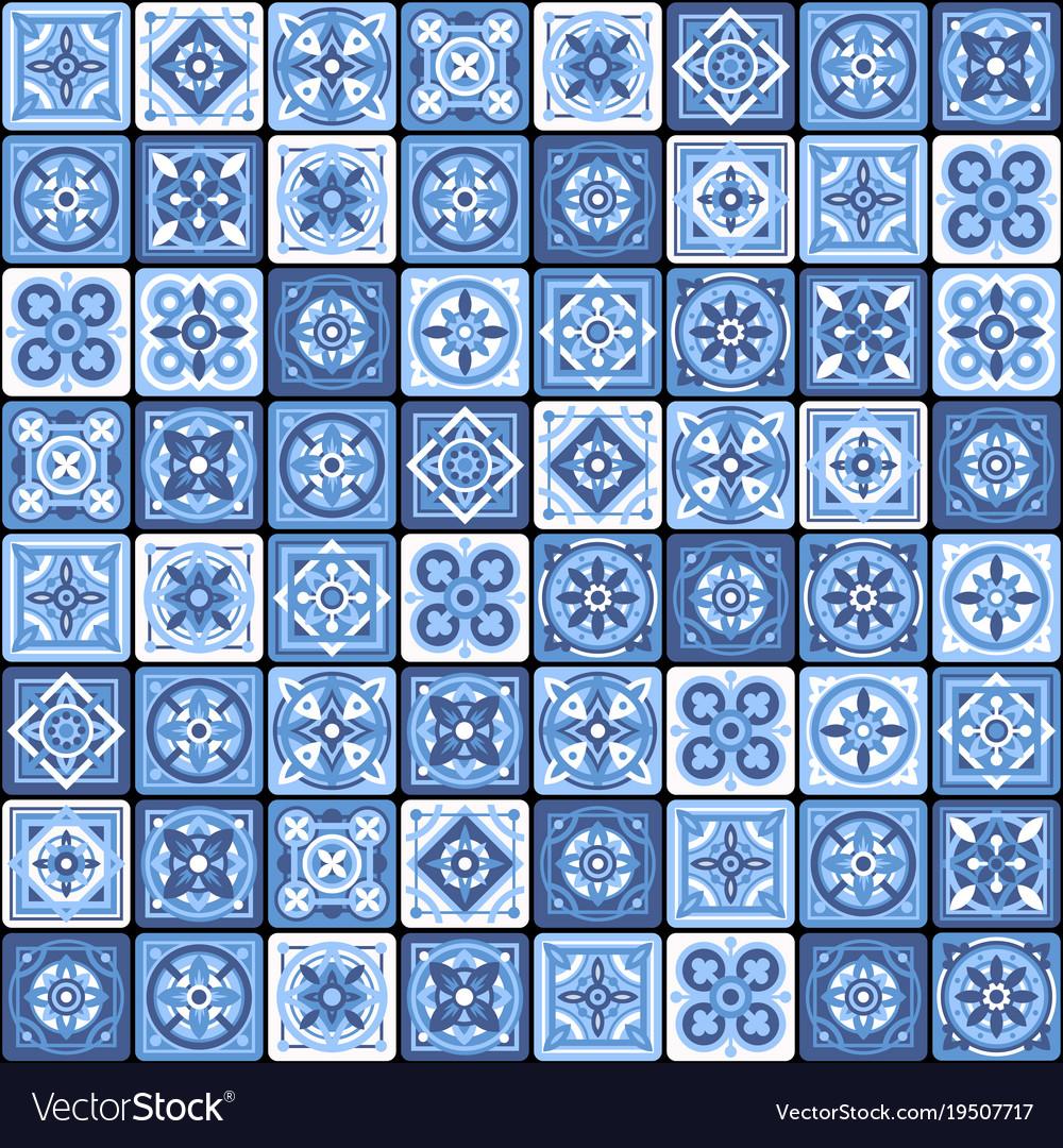 Ceramic Mosaic Tile Fl Vector Image