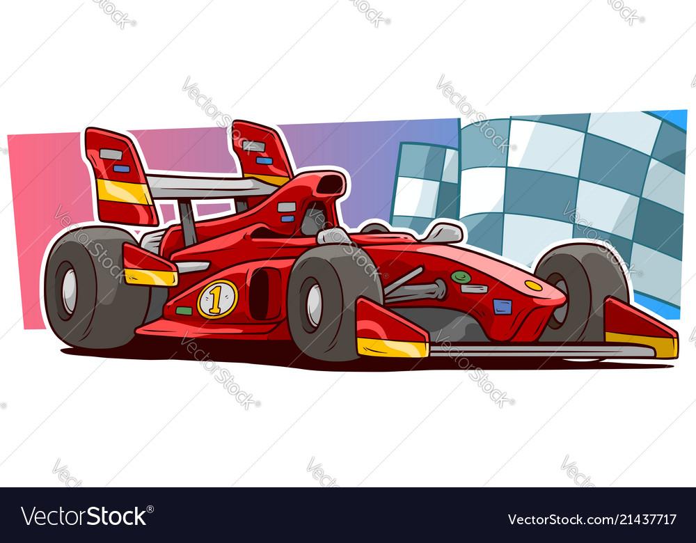 Cartoon modern red sport racing car
