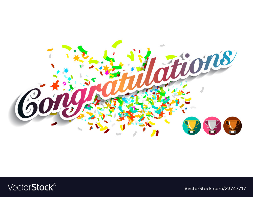 Congratulations greeting card with colorful