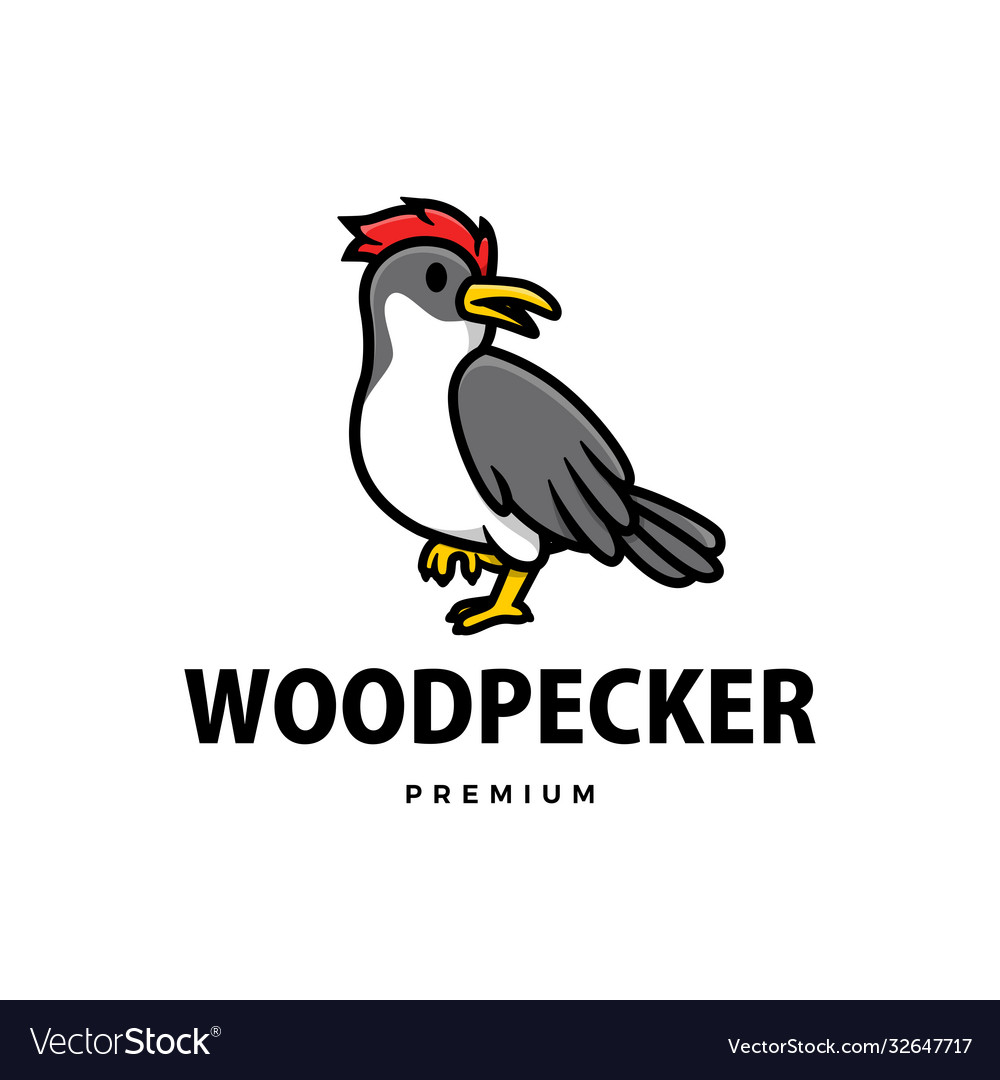 Cute wood pecker cartoon logo icon vector