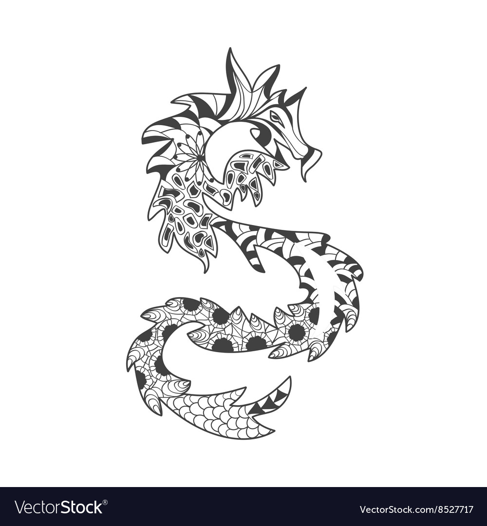 Dragons pattern coloring book for adults vector image