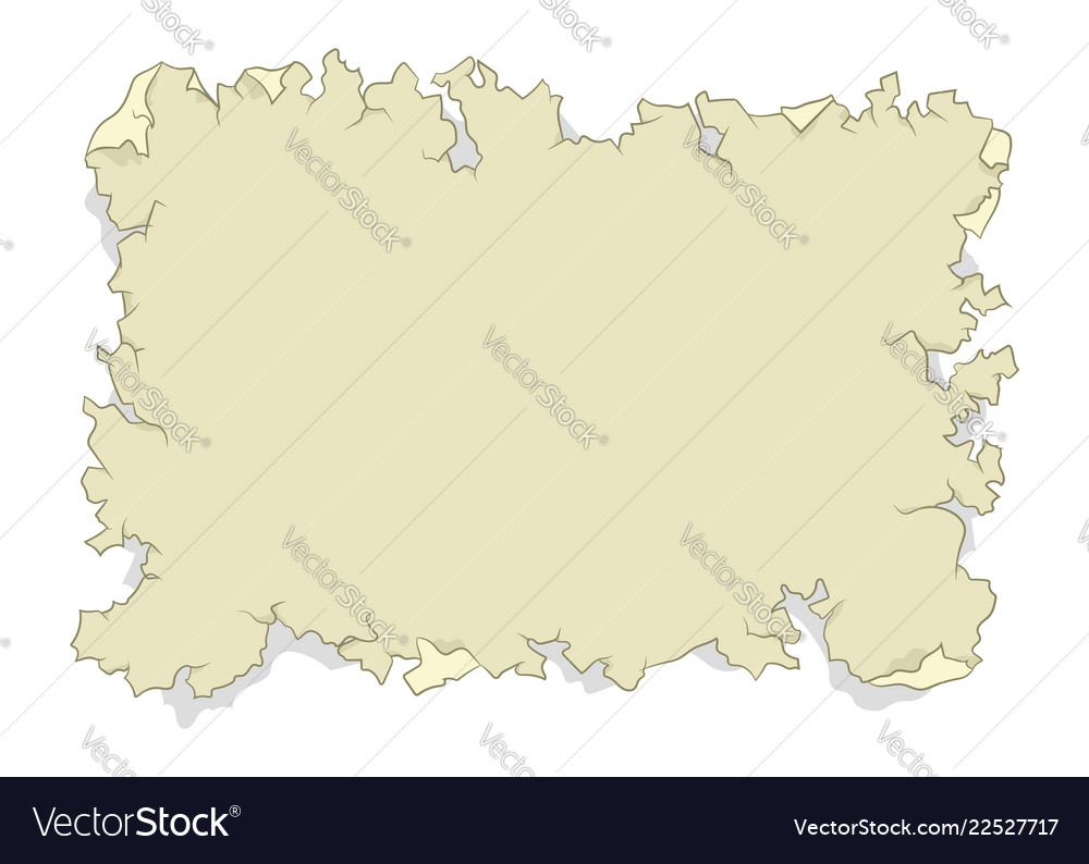 Empty map on tattered old paper flat color design
