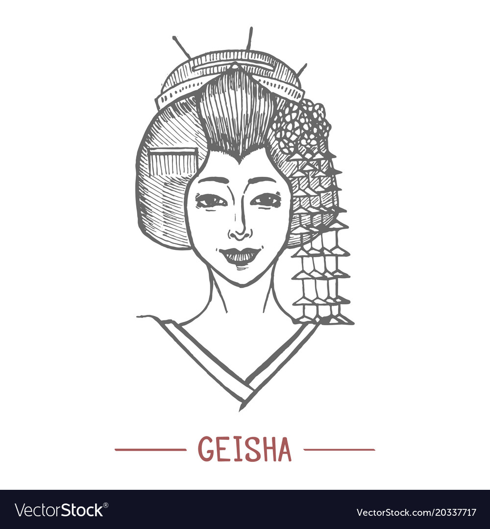 Geisha in hand drawn style
