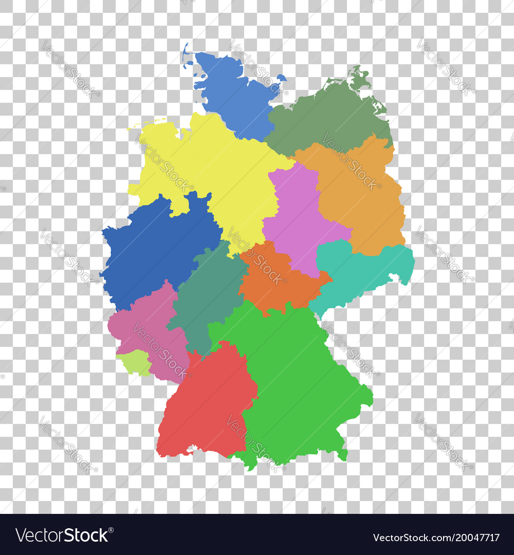 Germany map with federal states flat