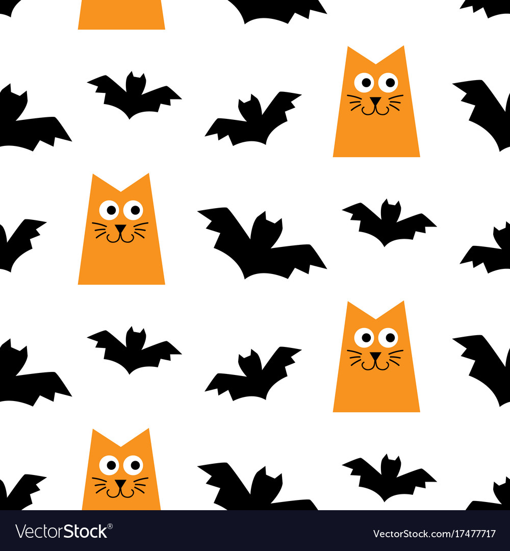 Halloween seamless pattern with cats and bats