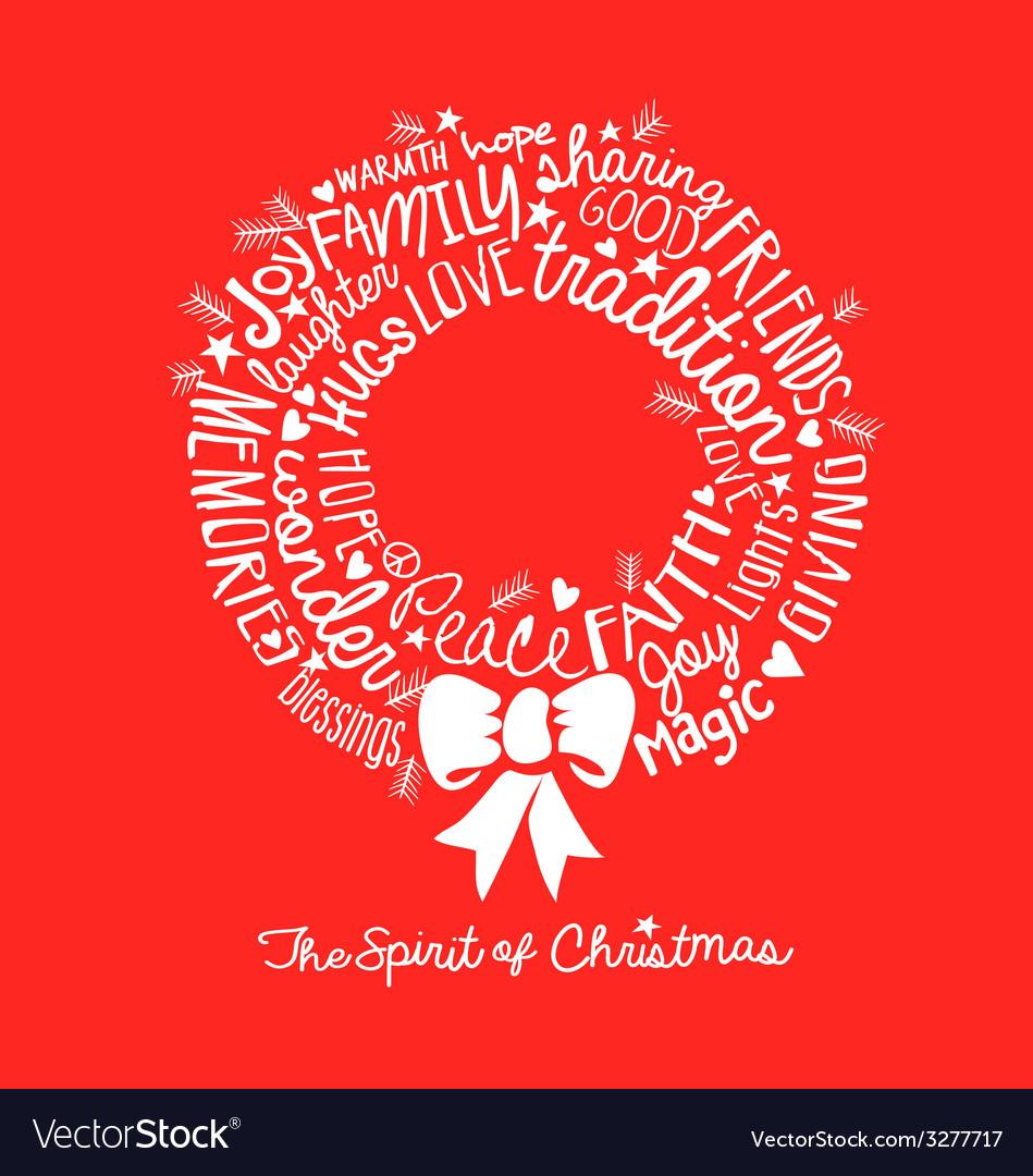 Handwritten Christmas wreath card Word Cloud desig