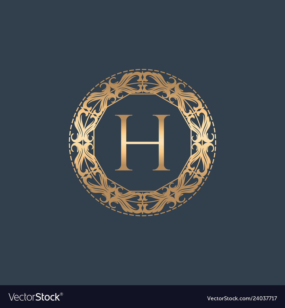 8efd27ae41b Letter h vintage abstract luxury logo Royalty Free Vector