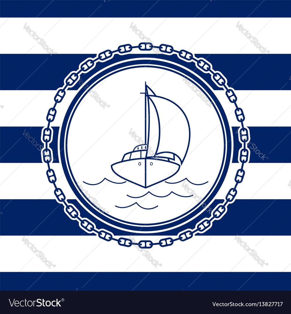 Sea emblem with an yacht