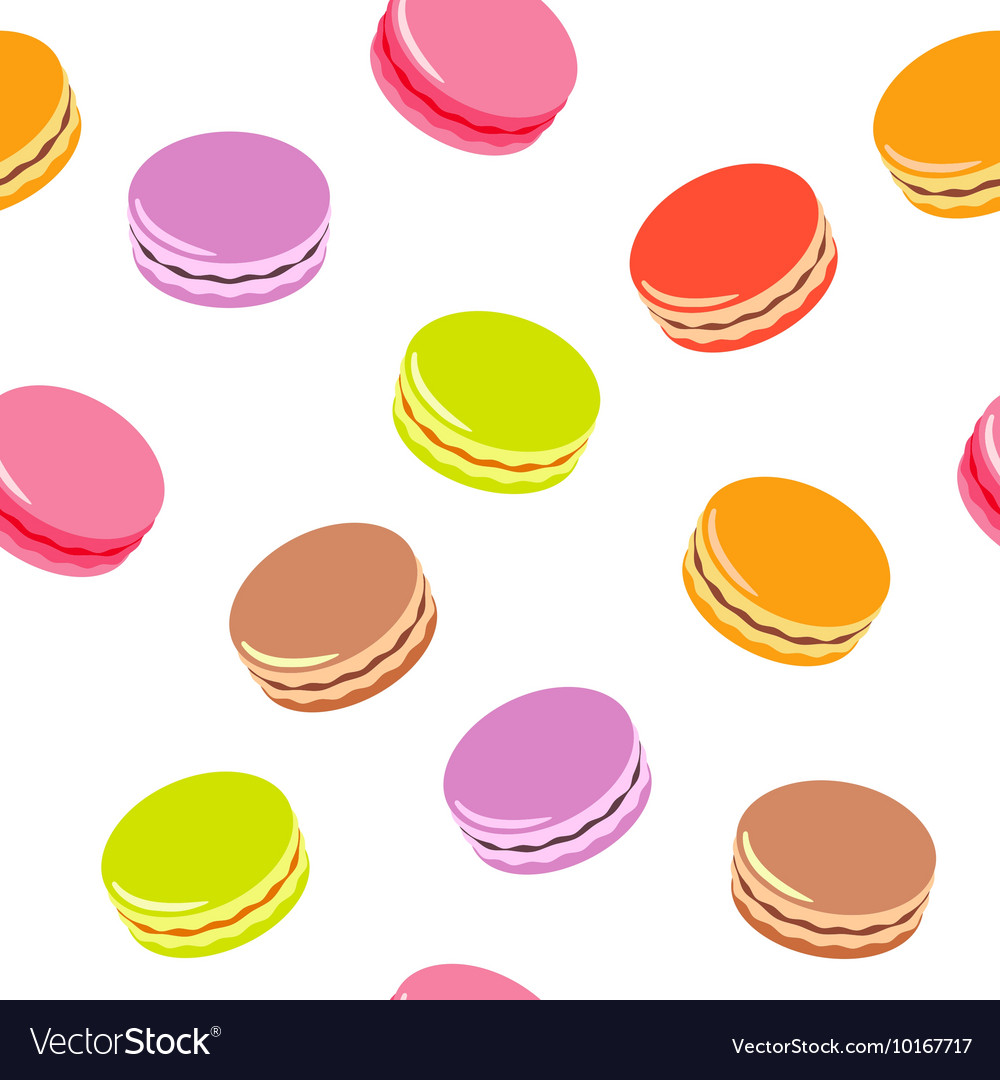 Seamless pattern with assorted colorful macarons