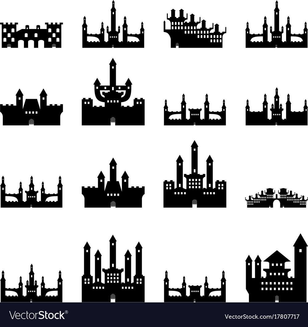 Set castles silhouette