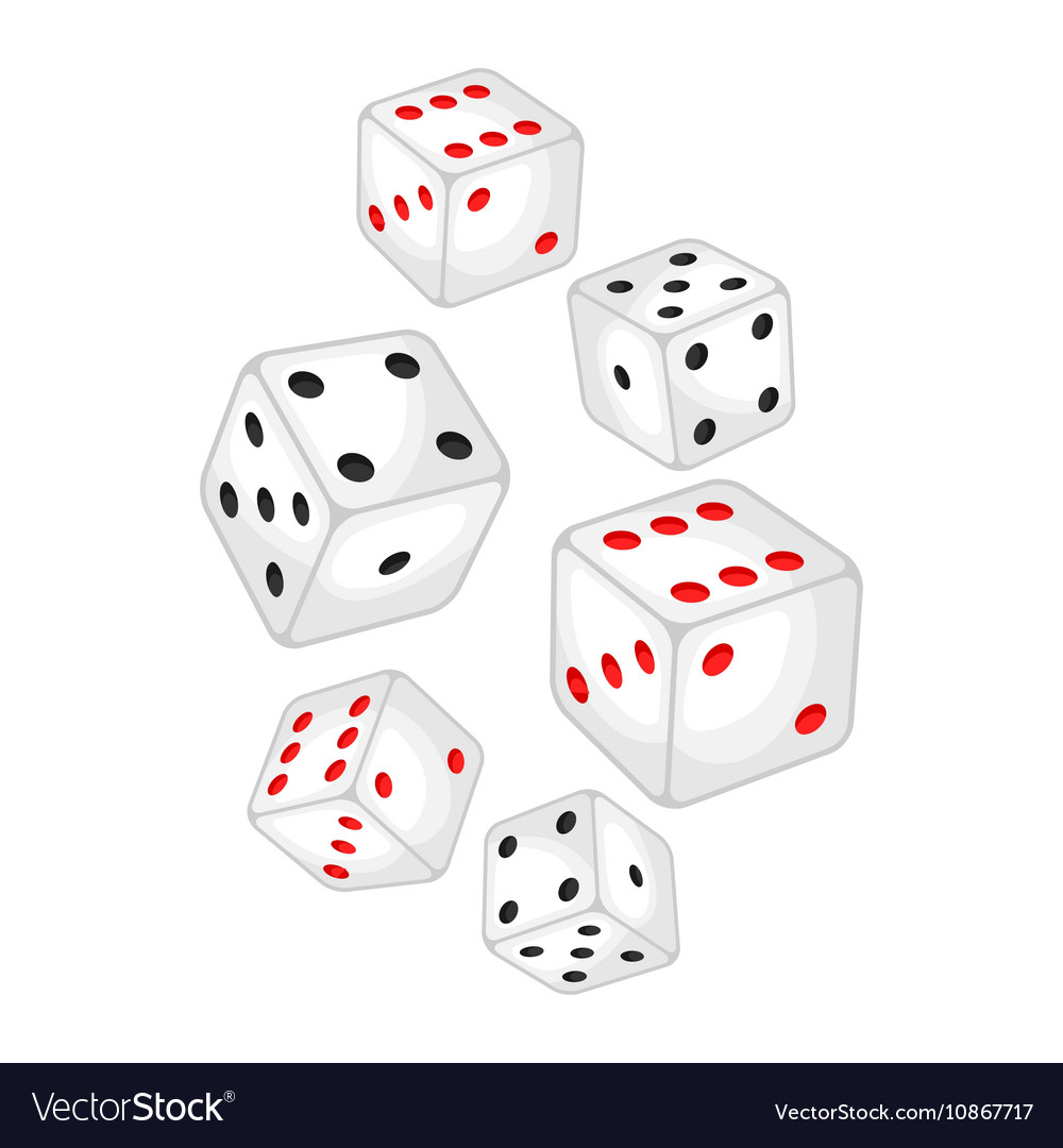 Set of casino white dice falling down